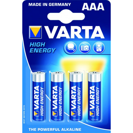 Pack 4 pilas alcalinas VARTA 1,5V tipo AAA LR03