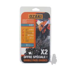 "CD7X2 2 Cadenas motosierra OZAKI CD7 3/8"" LP .050""-1,3 mm 57E"